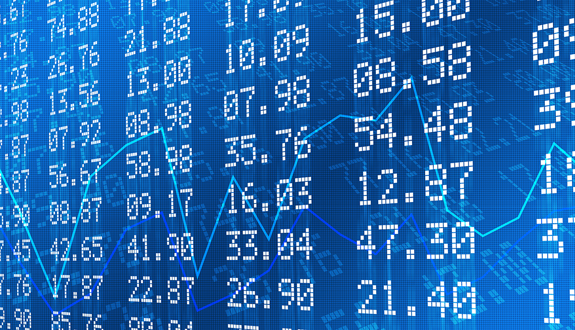 item 6 of Gallery image - Stock exchange graph and numbers in blue