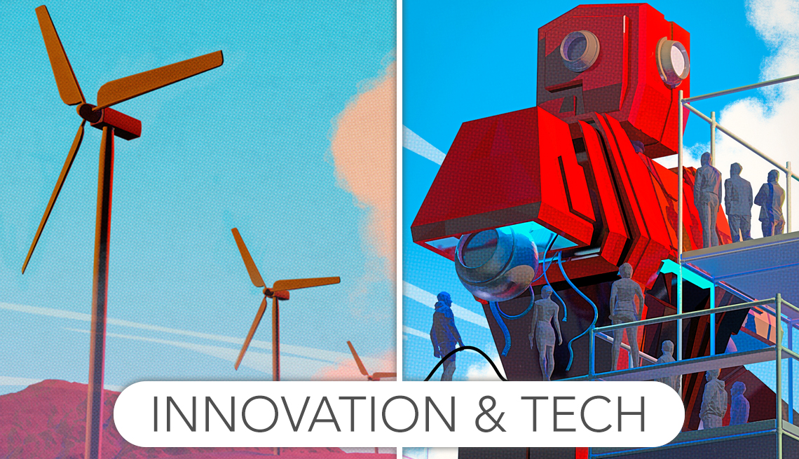 side-by-side illustrations of windmills and manufacturing robot