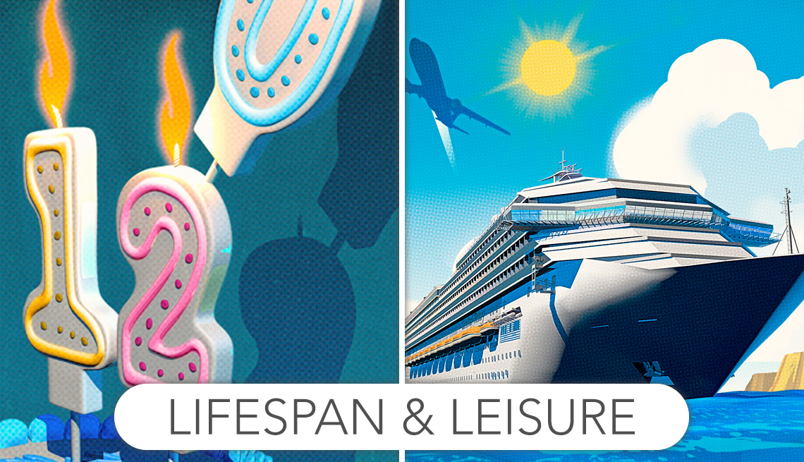 illustrations of birthday candles that spell out 120 and a cruise ship