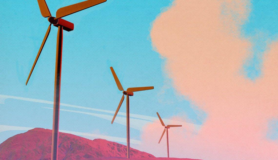 Ilustración de tres molinos de viento.