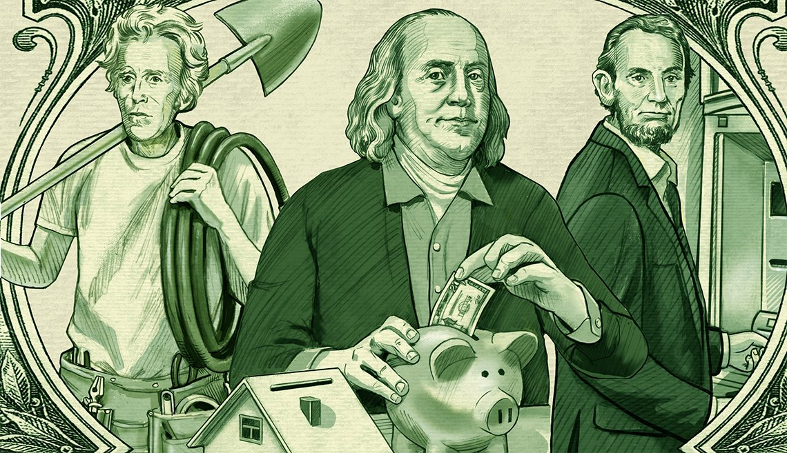 illustration done in the style of U.S. currency playing on the presidents- Andrew Jackson holding a shovel, Benjamin Franklin putting a bill into a piggybank, and Abraham Lincoln at an ATM machine