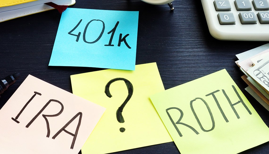 post it notes on a desktop titled 401k, IRA and Roth with a question mark in the middle