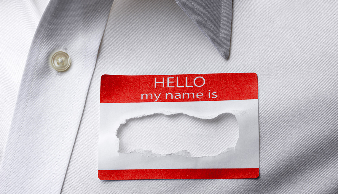 Name tag with name torn out