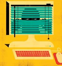 Illustration of computer monitor with dark figure peering through venitian blinds. Protecting the privacy of your finances, by Liz Weston