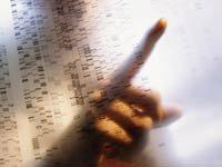 Investigador con un cuadro de ADN