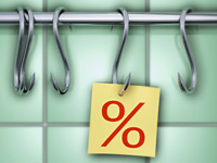 percent sign hanging on hook-low interest loan email scam