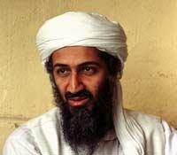 Portrait of Osama Bin Laden in 1998 in Afghanistan