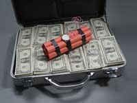 Briefcase with money and dynamite - Beware of prizes that require fees.