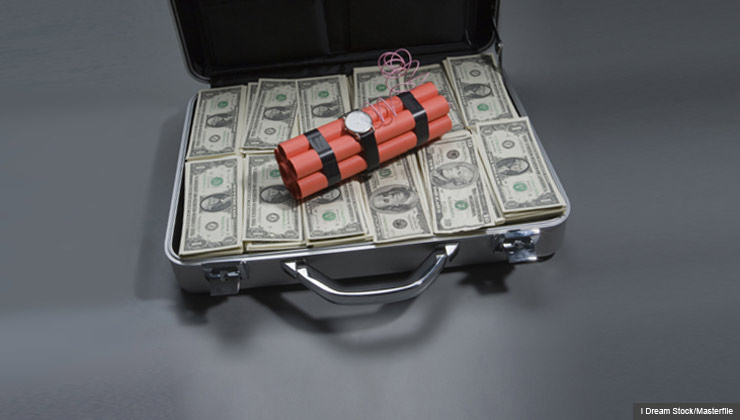 Briefcase With Money And Dynamite   Beware Of Prizes That Require Fees.