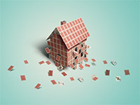 Real Estate Fraud is one of the top ten consumer complaints - Collapsing house made of cards