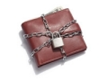 wallet brown lock chain protect scam alert cutout money credit cards (Mode Images / Alamy)