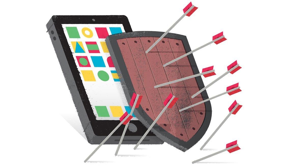 Ilustración de un teléfono inteligente con un escudo encima que sostiene unas flechas - Estafas con los teléfonos inteligentes