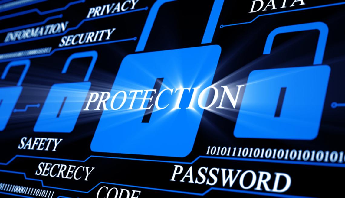 Formas de protegerte contra el robo de identidad - Ilustraciones de candados con las palabras protección, seguridad, contraseña, secreto en inglés