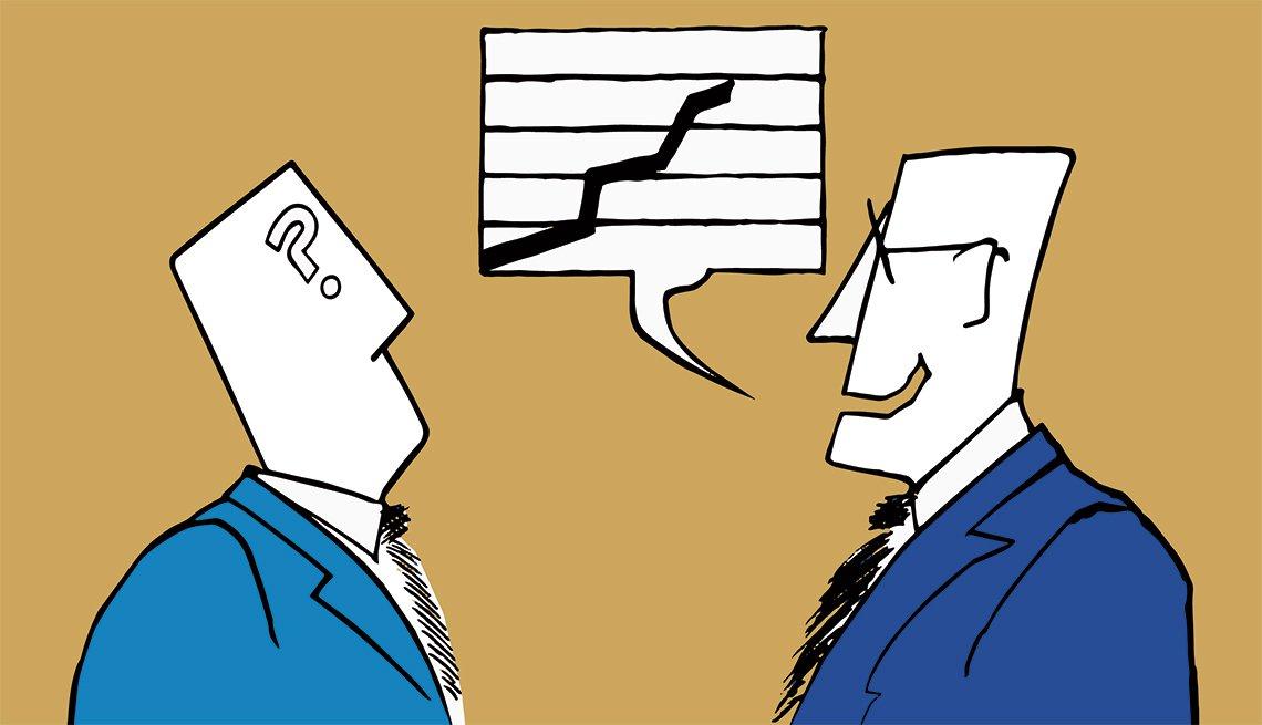 Ilustración de dos hombres con vestido de corbata y uno frente al otro. ¿Serías blanco fácil de los estafadores?