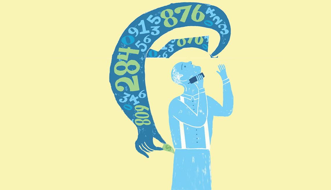 Ilustración de un fraude de código de área donde una mano toma los datos del teléfono y saca el dinero de tu bolsillo.