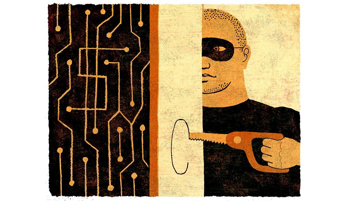 Ilustración de un hombre con antifaz haciendo un hueco en una pared para acceder a un servidor, y protege tu identidad en el mundo digital