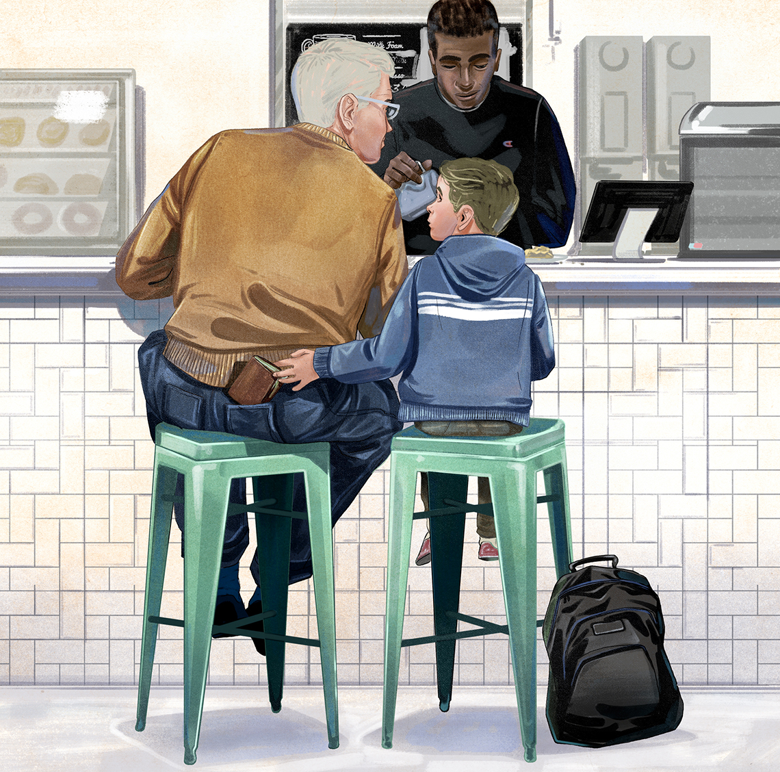 illustration of a boy stealing the wallet of an older man