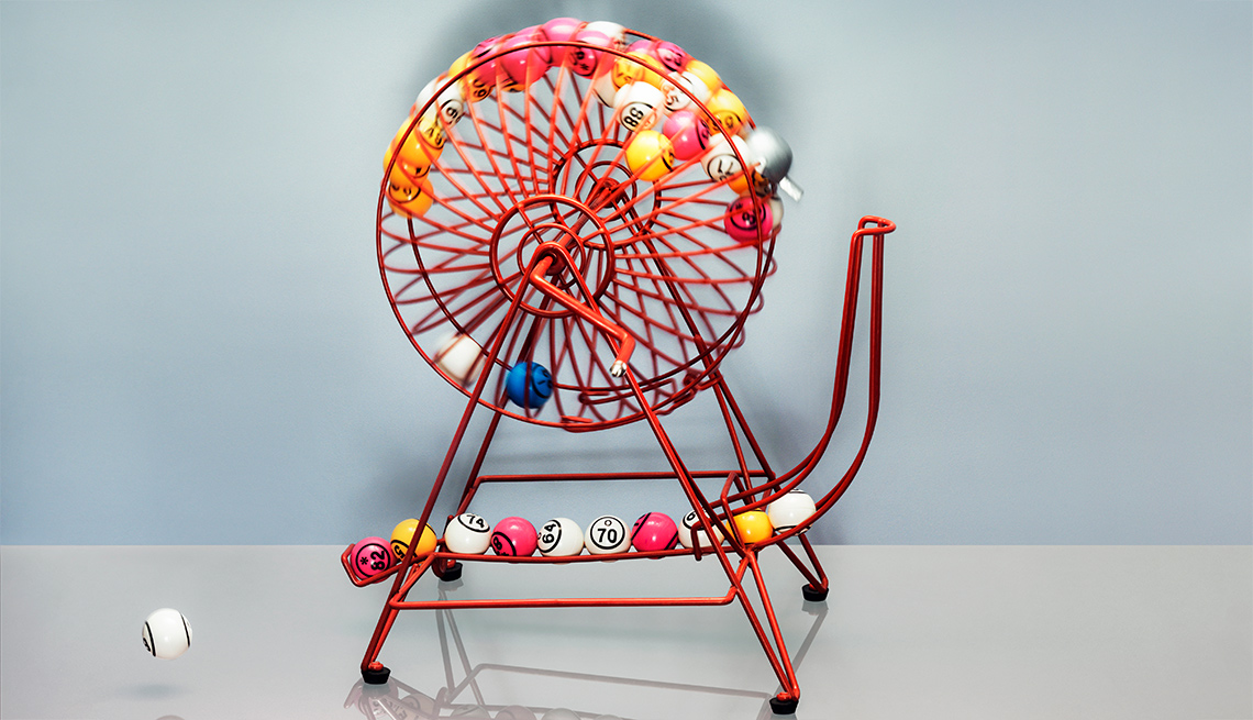A spinning lottery basket