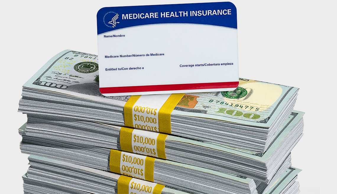 Medicare card on top of money