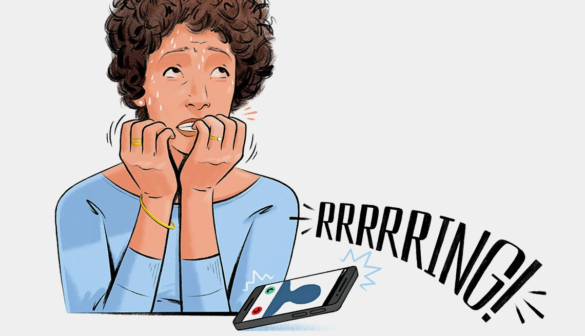 illustration of a woman worried about answering her phone