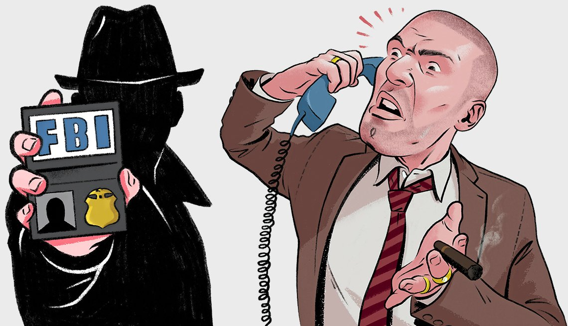 Illustrations of a shaddowy FBI character and a person mad on the phone