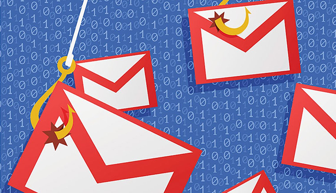 emails illustration caught with a fishing hook