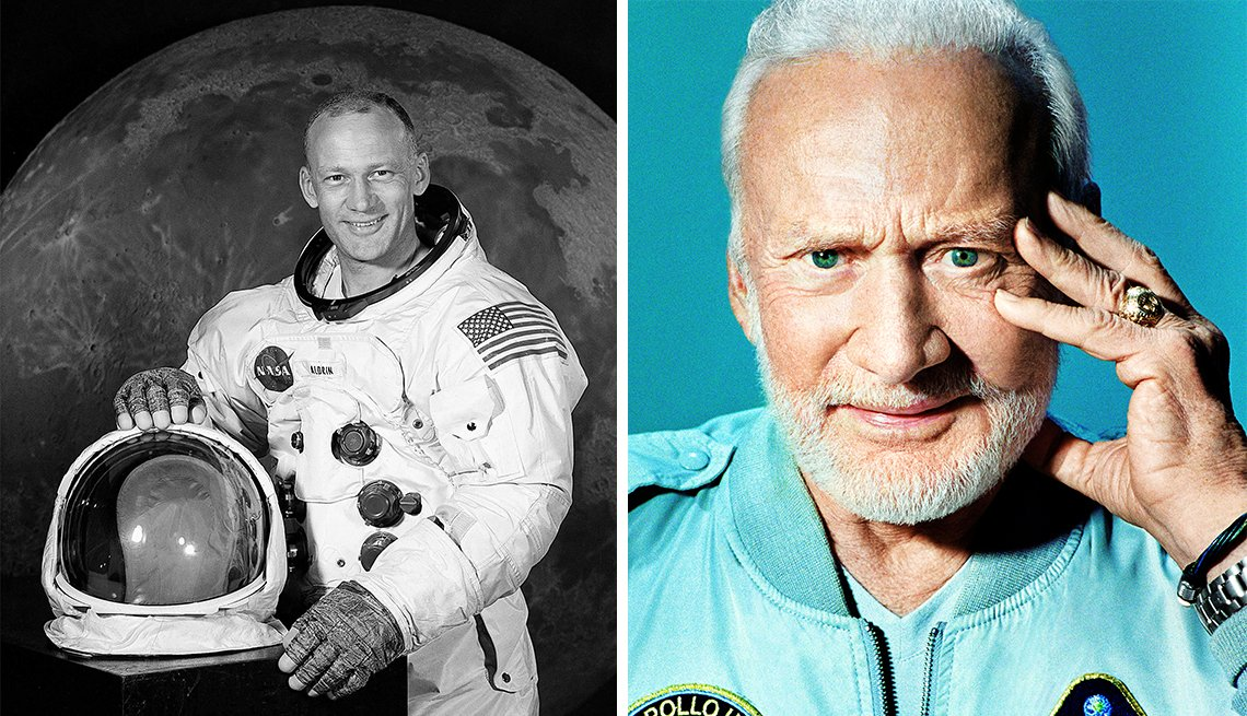 Buzz Aldrin as a young man and an old man