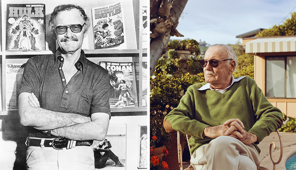 Stan Lee as a younger man and an older man