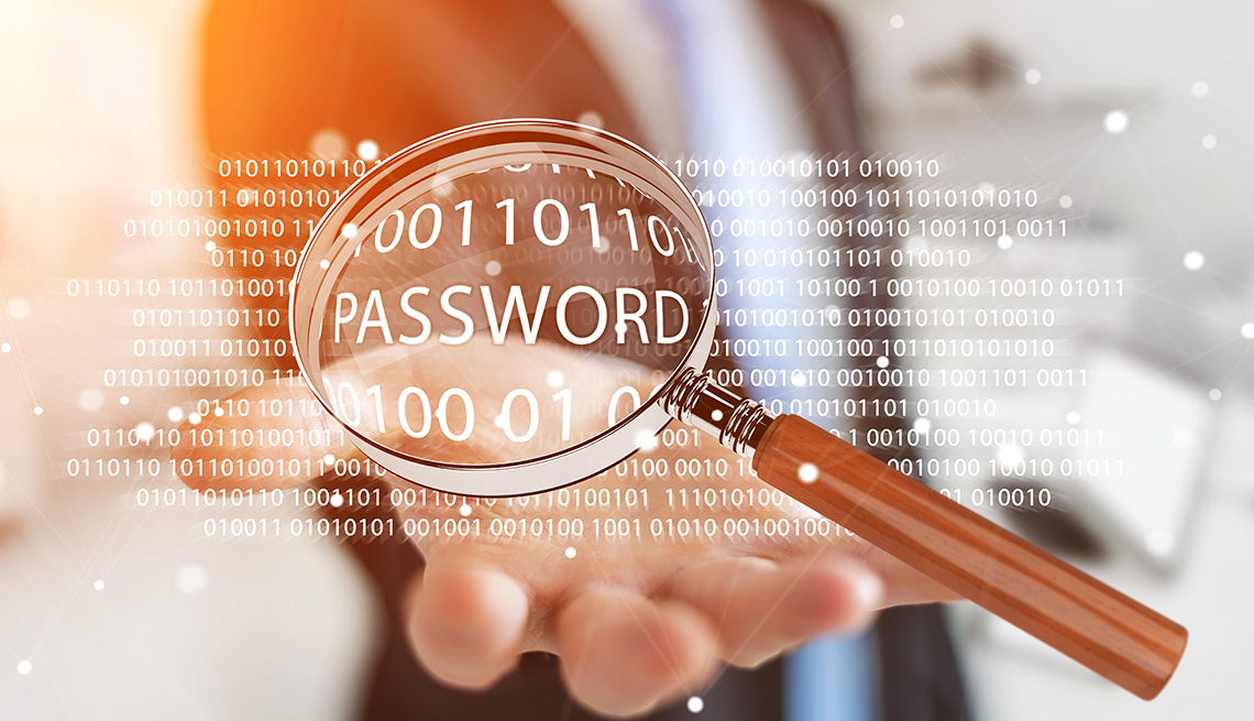 """Magnifying glass on the word """"password"""" in a list of binary code"""