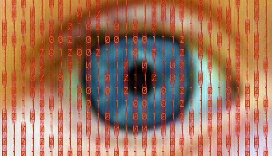 Ojo detrás de una pantalla que muestra una base de datos