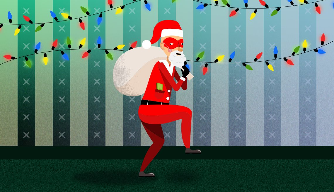 Thief in a Santa suit sneaking across the floor