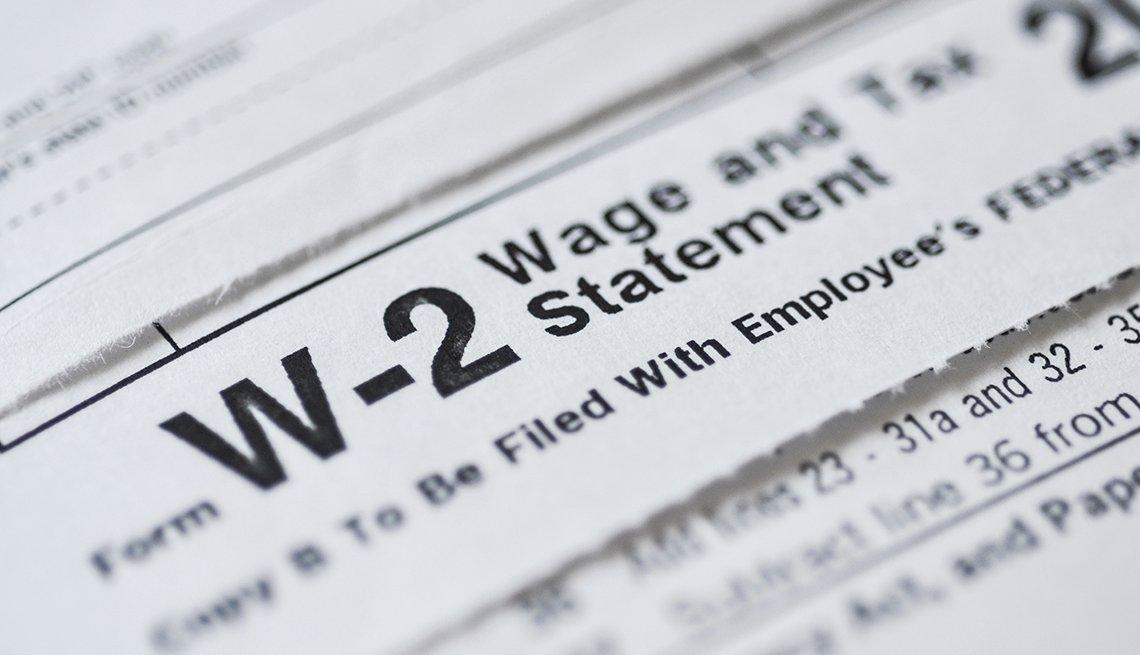 Forma W2 del IRS para presentar la declaración de renta.