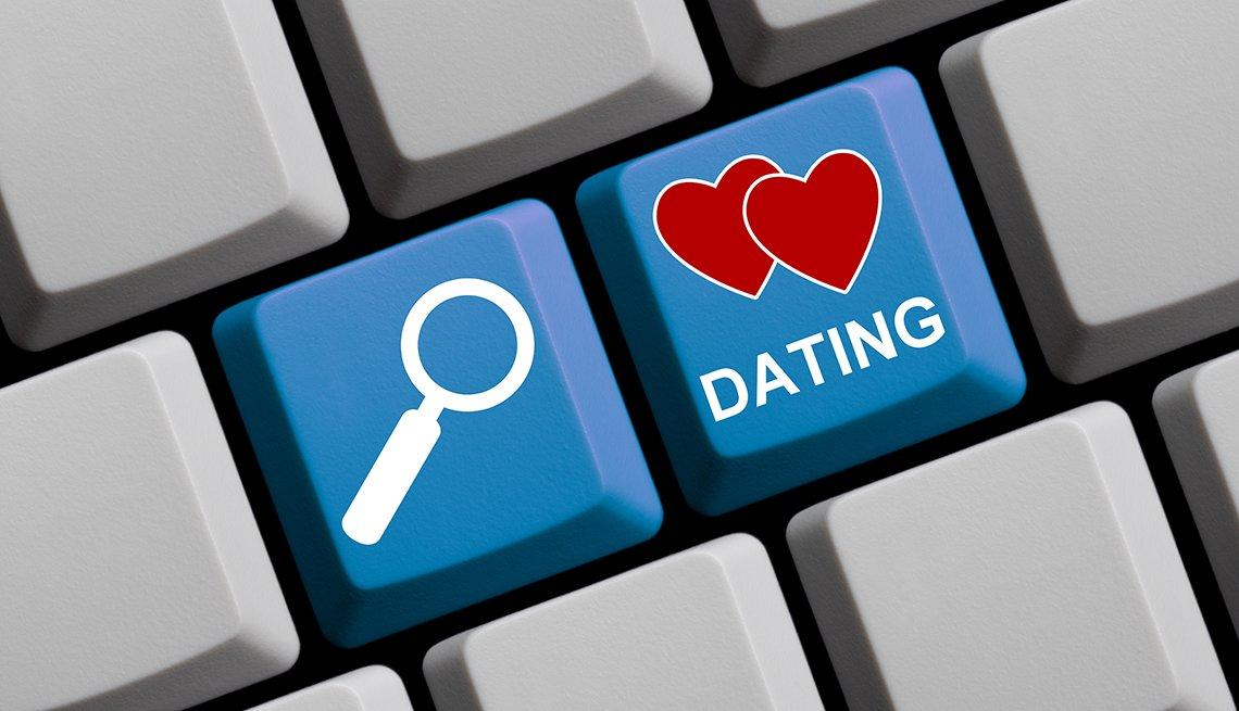 Teclado de computadora con símbolos muestra la búsqueda de citas en línea