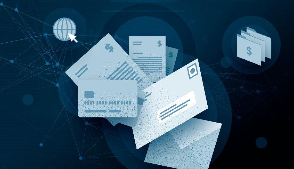 Ilustración de tarjeta de crédito, sobres y facturas