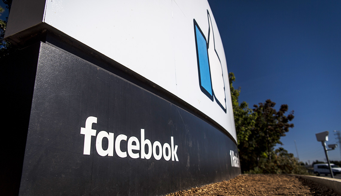 Signage is displayed outside Facebook Inc. headquarters in Menlo Park, California
