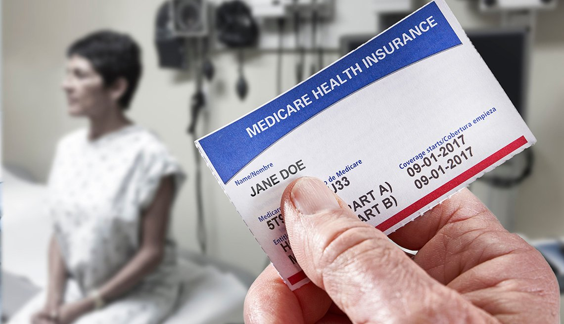Medicare Health Insurance Card in medical office with patient in background
