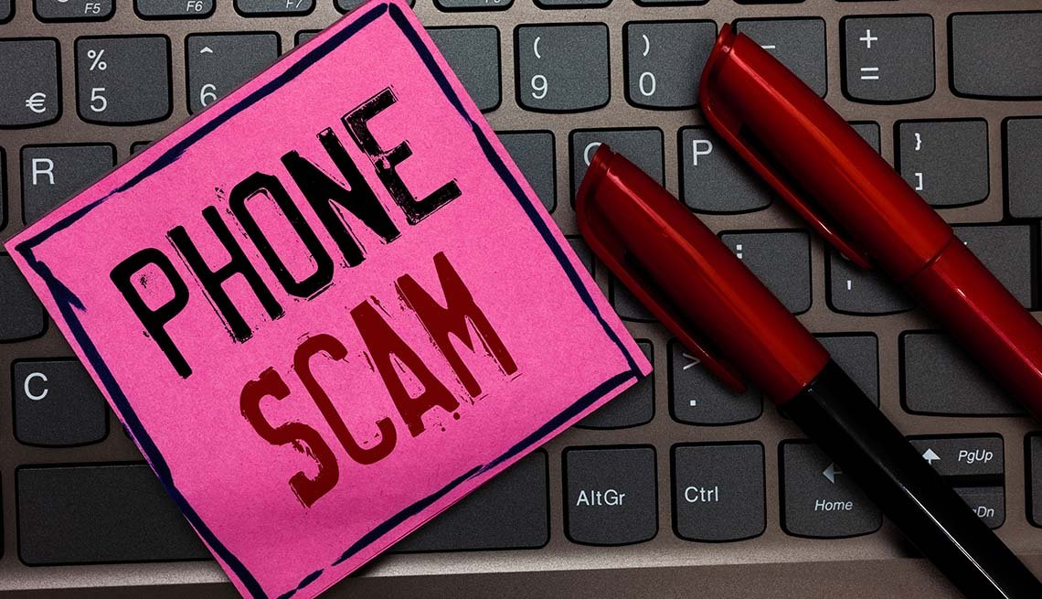 Unwanted phone calls - phone scam concept