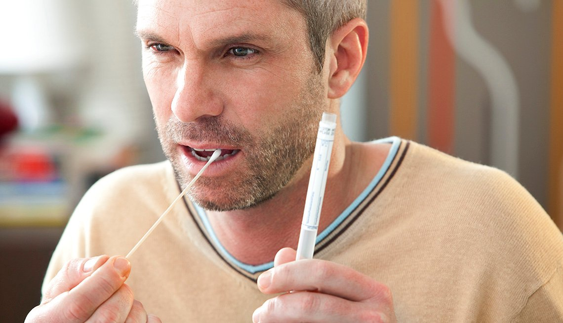 Man uses mouth swab in DNA testing
