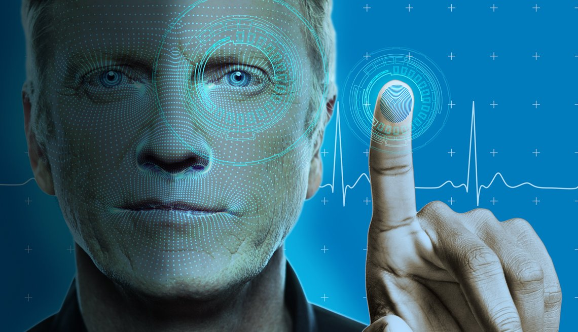 concept of man using biometric recognition technology