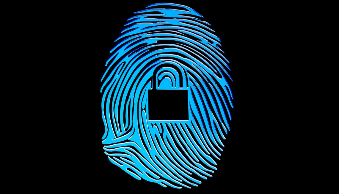 fingerprint icon with a lock icon to show protection