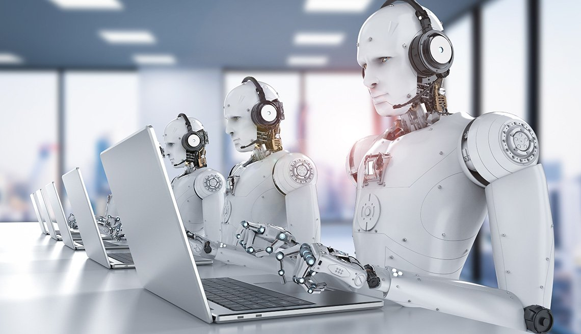 Robots working with headset and a laptop
