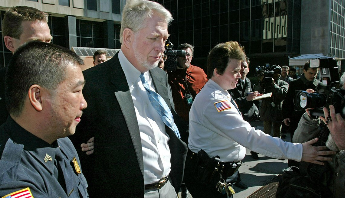 Former executive Bernie Ebbers leaves the federal building for an arraignment in custody March 3, 2004 in New York City.