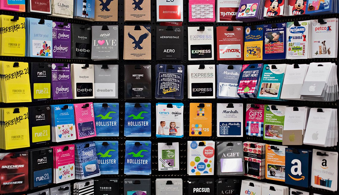 Gift cards are displayed for sale