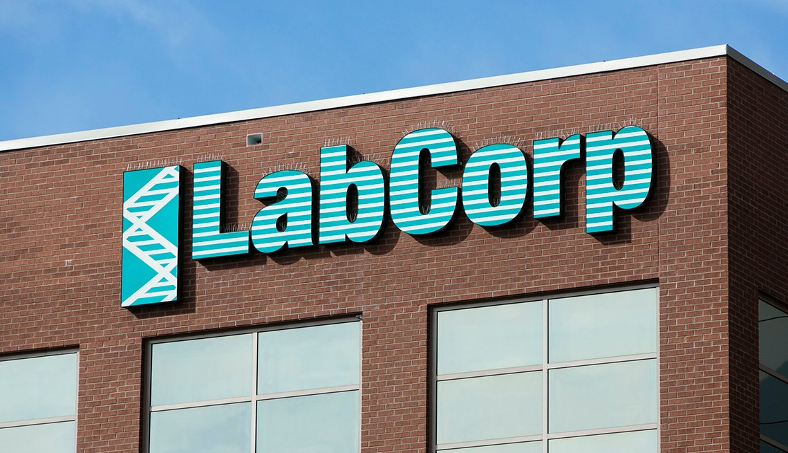 A logo sign outside of the headquarters of Laboratory Corporation of America Holdings (LabCorp) in Burlington, North Carolina