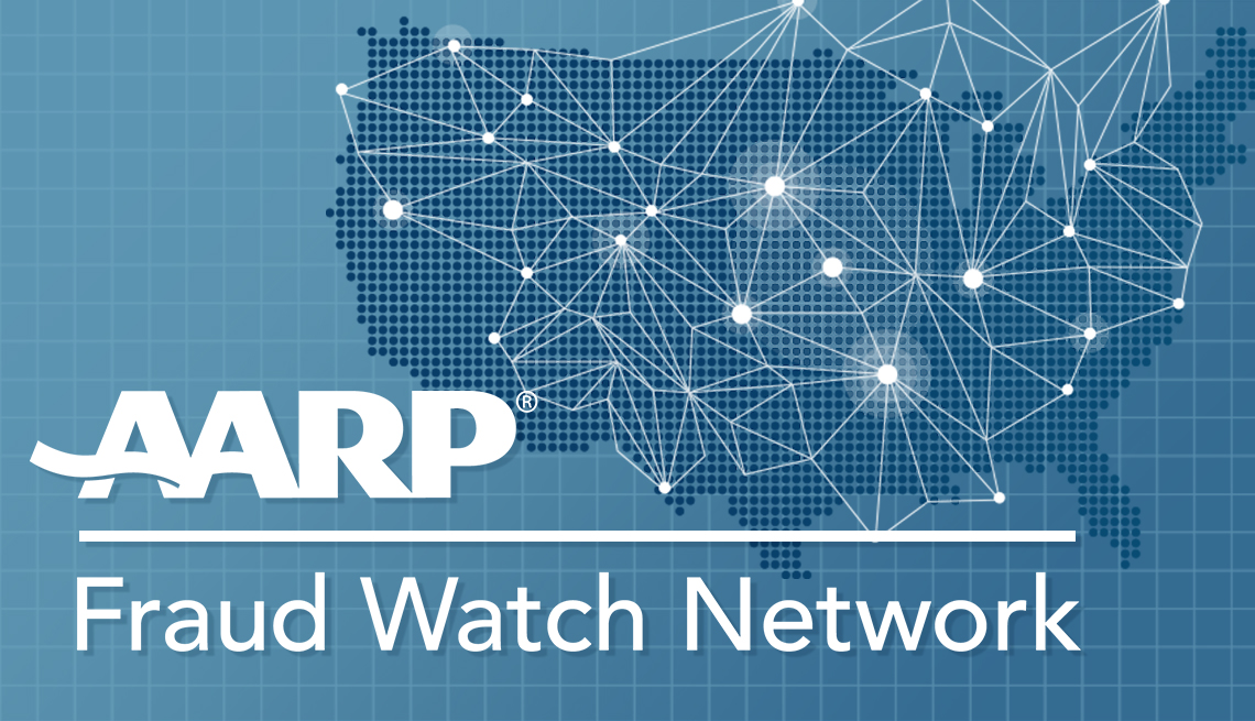 AARP Fraud Watch Network on top of a map of the US showing a network
