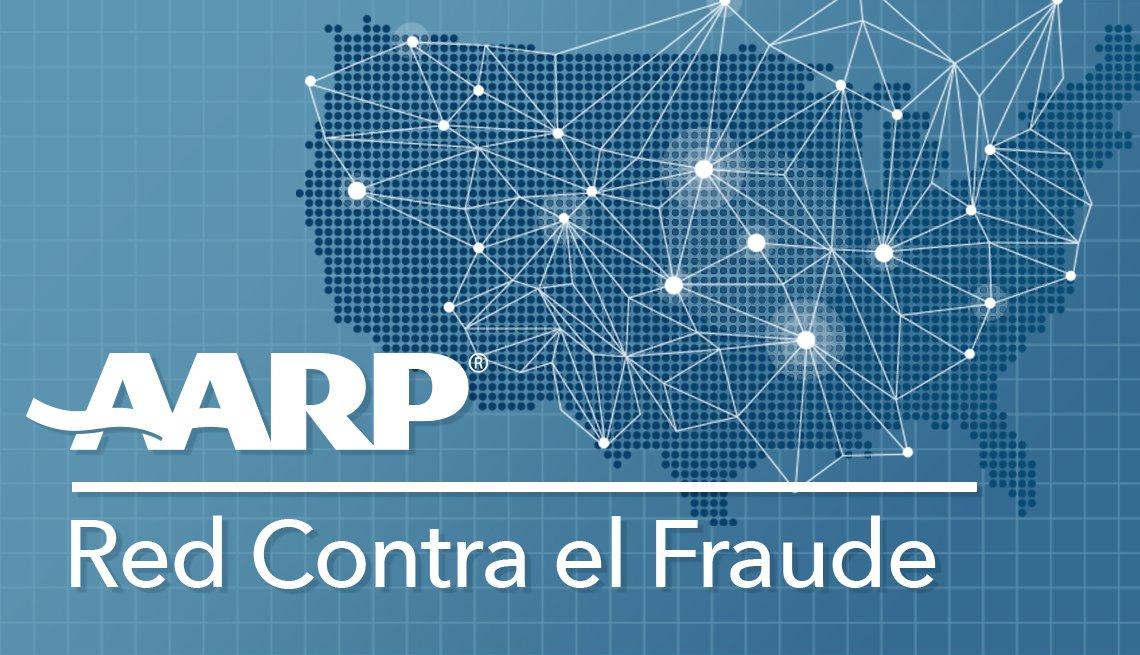Texto de AARP Red Contra el Fraude con un mapa de Estados Unidos en el fondo