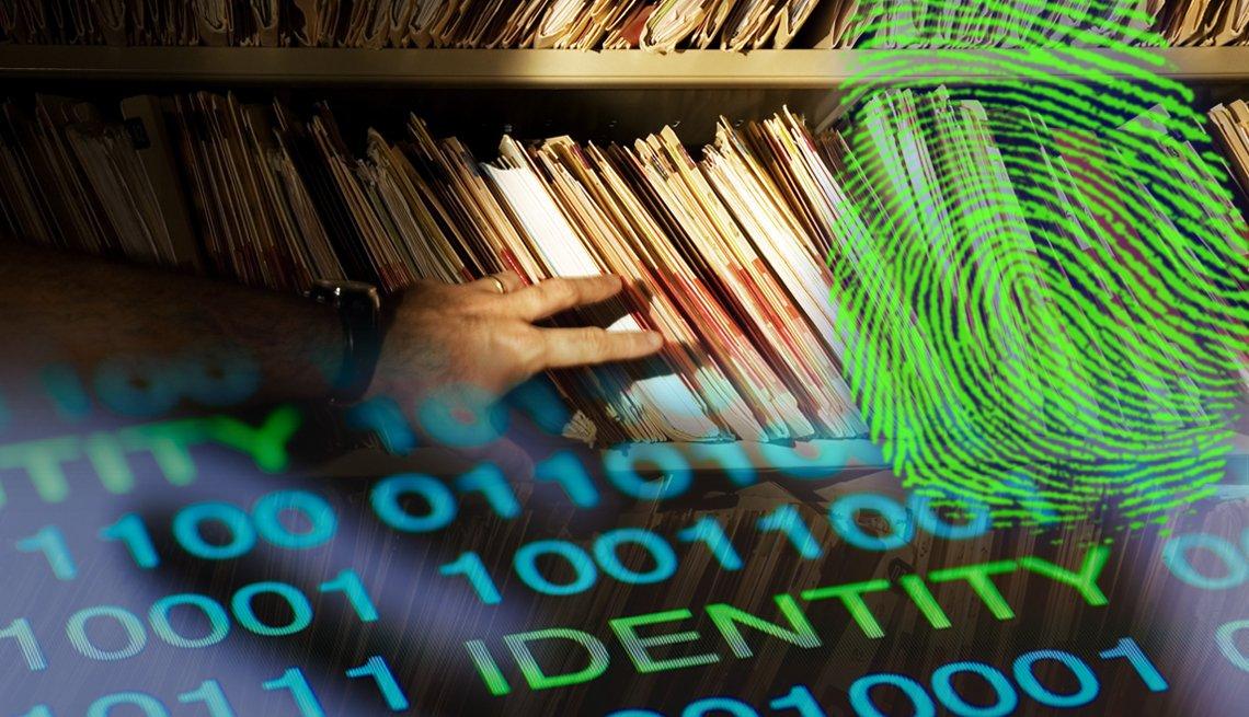 Una mano revisando carpetas. Otra imagen de un sistema binario con la palabra identidad, y una huella.