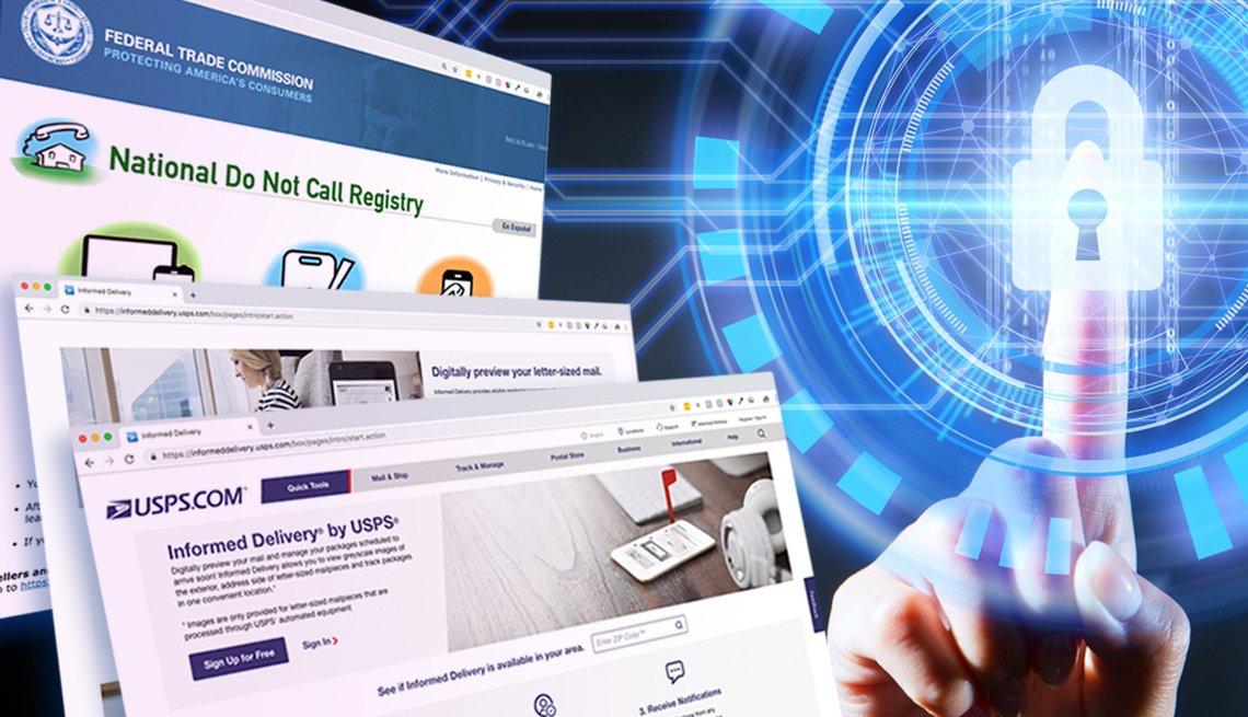 Imágenes de páginas web con una mano al lado tocando un candado.