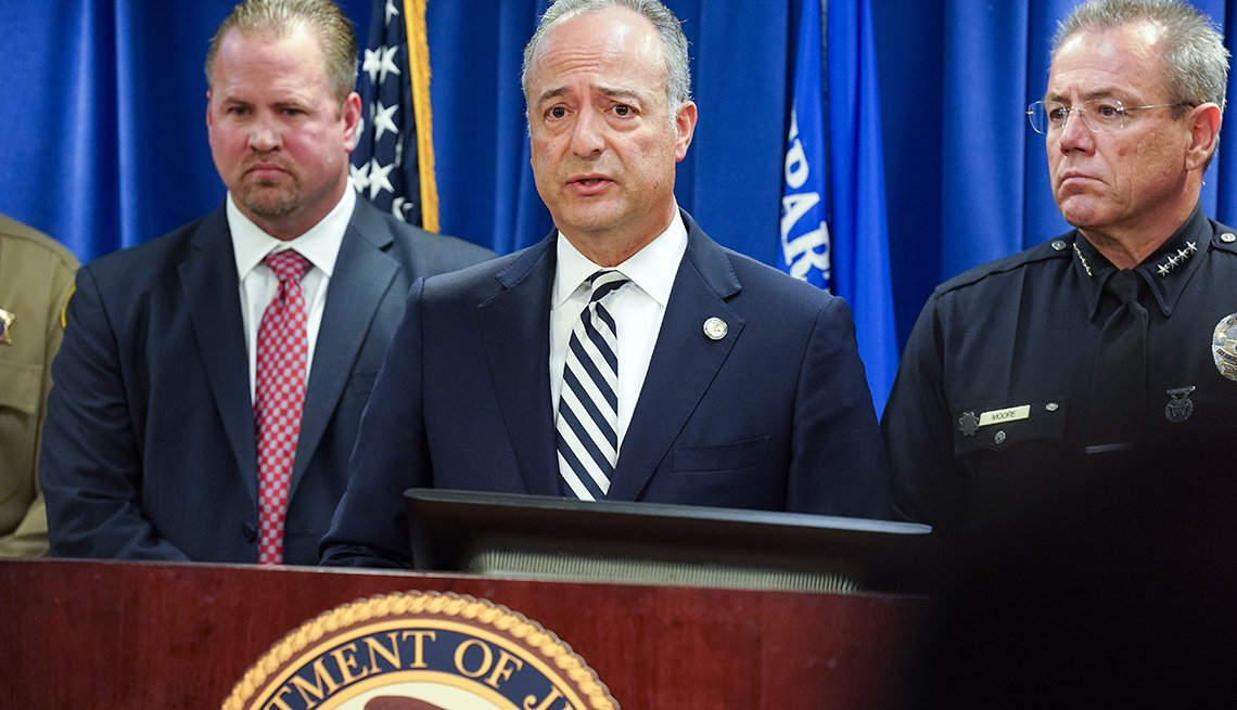 United States Attorney Nick Hanna, center, announces the arrest of Mark Steven Domingo during a press conference at the U.S. Attorney's office in Los Angeles on Monday, April 29, 2019. On Friday, FBI agents arrested Domingo, 26, of Reseda on federal charg
