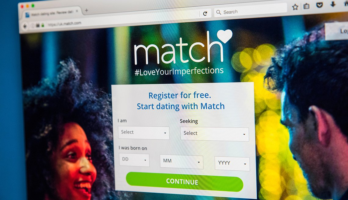 The homepage of the website for Match.com, the online dating service